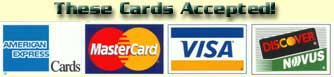 We accept VISA MasterCard AMEX and Discover